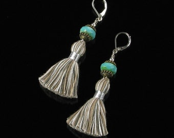 Boho Earrings, Silver Leverback Earrings, Boho Long Tassel Earthy Bohemian Earrings, Unique Festival Jewelry Gift for Women, Tassel Jewelry