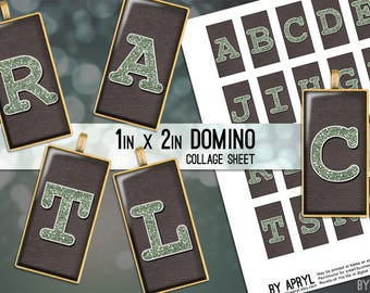 Initial Monogram Muted Green Glitter Alphabet 1x2 Domino Collage Sheet Digital Image for Domino Pendants Scrapbooking JPG D0064