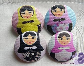 4 buttons in fabric, matriochka, 0.86 in / 22 mm
