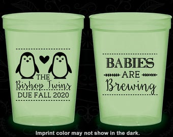 Penguin Baby Shower, Glow in the Dark Baby Shower Cups, Twins Baby Shower, Babies are Brewing, Glow Baby Shower Party (90070)