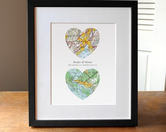 Two Hearts Wedding Map Art Print Gift, Two Map Hearts, Custom Wedding Gift, Engagement Print, Anniversary Gift, Map Art, Heart