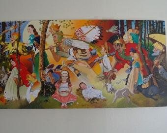 Fairy Tale, Nursery Rhyme, Fairytale, Original Acrylic Painting - 100 x 50cm