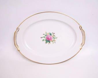 Vintage Noritake Japan Large Platter Sharon Pattern Pink Rose Design Serving Platter Pink and Green Gold Trim