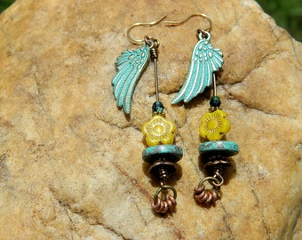 Angel Wings and Czech Bead Boho Earrings