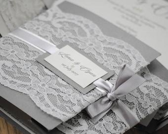 Charcoal Grey Lace Wedding Invitation