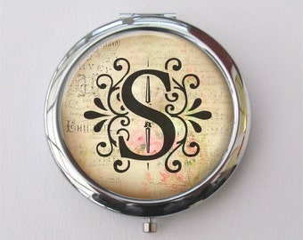 Compact Mirror, Personalized Monogram Compact, Purse Mirror