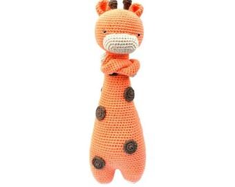 Giraffe Knit doll. Sleepy Giraffe doll. Handmade Giraffe toy. Amigurumi animal. Soft Knit baby toy. Décor Giraffe doll. Stuffed Giraffe gift