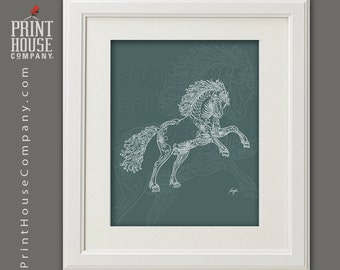 Stallion/Horse Calligraphy Illustration, 8x10 archival, giclee, fine art digital print
