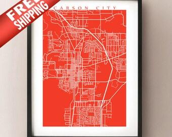 Carson City Map - Nevada Poster Print