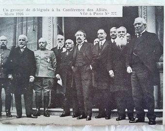 The Great War Diplomacy, Allied Conference Paris France March 1916, Vintage Real Photo Postcard, WWI