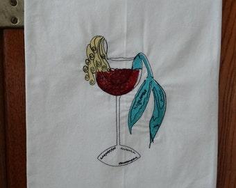 Mermaid In A Wine Glass Embroidered Flour Sack Towel,  Embroidered Mermaid In A Wine Glass, Embroidered Mermaid Towel, Beach House Decor