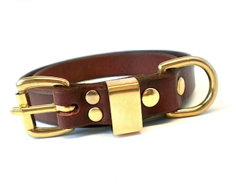"""3/4"""" Rich Brown Chahin English Bridle Leather Plain Dog Collar with Solid Brass Hardware & Brass Rectangle Keeper"""
