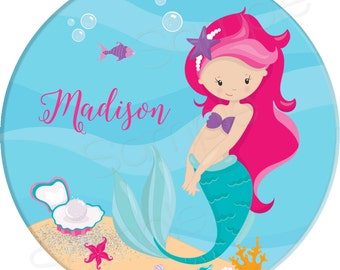 "Mermaid Personalized 10"" Melamine Plate, 5"" Bowl or 2 Piece Set 