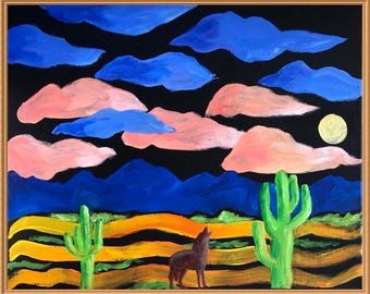 Coyote in the Desert with Cactuses