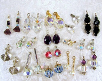 LOT 15 Pr Earring Dangles 30 Pc Faceted Glass Crystal Dangle Earrings Charms Vintage & New Costume Jewelry Blue Pink Purple Black AB Crafts