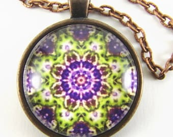 MARDI GRAS Necklace -- Purple gold green kaleidoscope, Detail from a Spanish tile, Enchanting Carnival flowers, Mediterranean style