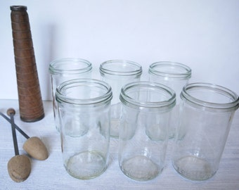 Set of 6 Fowler's Vacola No.31 Clear Glass Preserving Jars