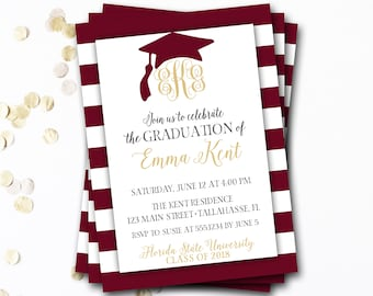 Monogram Graduation Invitation, Garnet Graduation Invitation, Garnet and Gold Graduation, Maroon Graduation, Class of 2017, DIY Printable