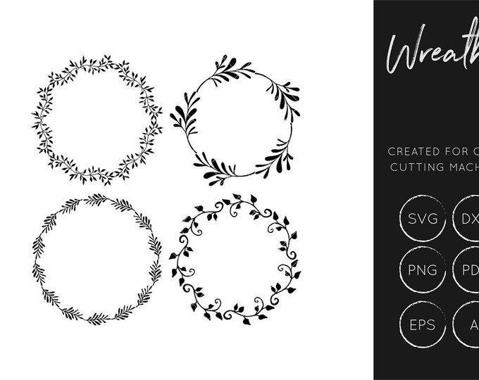 Wreath SVG Cut File, Floral SVG Cut File, Craft Cutting Files, SXF Cut File, Silhouette Cameo, Cricut Explore,  Clipart, Commercial Use