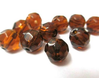 Brown faceted glass 8mm 10 beads