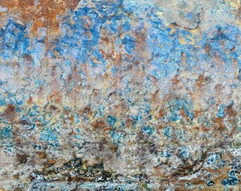 Abstract Photography, Industrial Art, Blue Abstract Art, Organic Modern Decor, Rust Corrosion Decay, Textured Photography, Fine Art Print