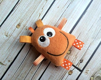 Baby Rattle Plushie - Orange Monster Tag Toy - Stuffed Sensory Toy