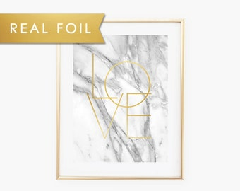 Gray Marble Love Real Gold Foil Art Print 11x14, 8x10, 5x7