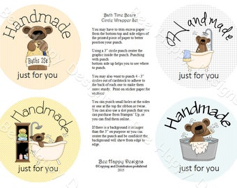 """PDF Printable """"Bathtime Bears"""" Circle Wrapper/Label Set - with background graphic"""