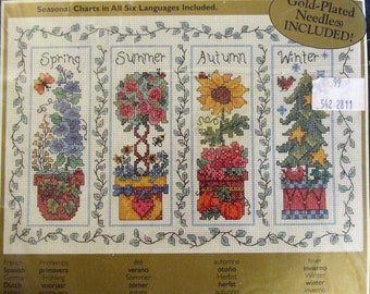 Bucilla Four Seasons Counted Cross Stitch Kit 1990s 42509 Designed by Robin Kingsley