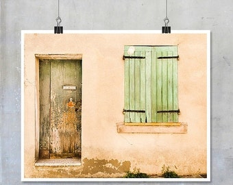 Provence France Travel Photography window door art wooden shutters Arles old house shabby chic print France wall art home decor big print