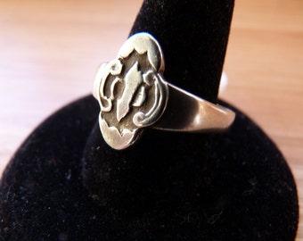 Antique Chinese Silver Quatrefoil Ring (adjustable)