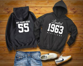 1963 Limited Edition Birthday Hoodie 55th Custom Name Celebration Gift mens womens ladies hooded sweatshirt sweater Unisex Personalized