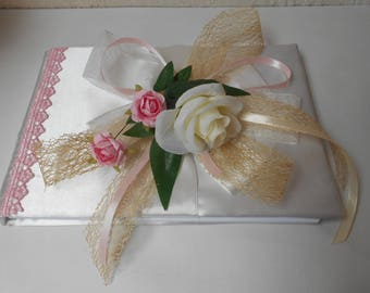 Guestbook for romantic wedding - ivory, taupe and pale pink