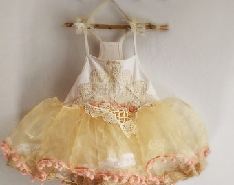 Girls size 4-5 organza beige and white ballerina flower girl with vintage doily. Shabby chic flower girl dress.