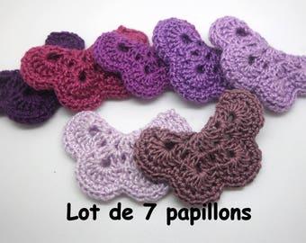 7 butterflies in violet crochet
