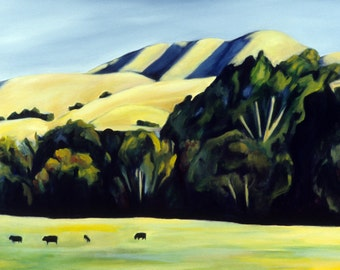 California Landscape Cows in a Field Print of Original Painting