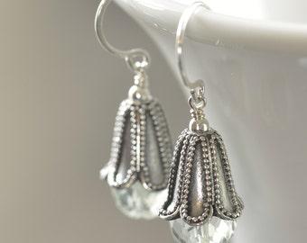 Green earrings green Amethyst Sterling silver Bell Flower earrings Bali Petals February birthstone earrings  gifts for her