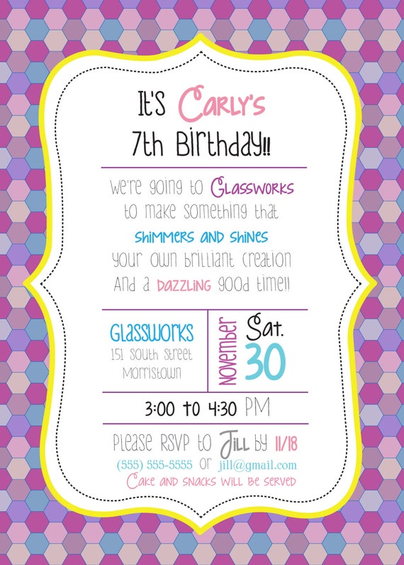 Custom little girl mosaic birthday party invitations made filmwisefo