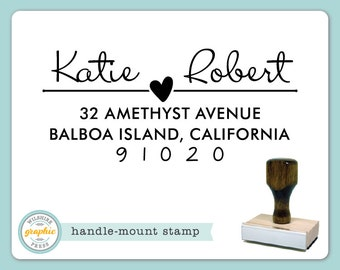 Handle Mount Stamp - KATIE Style - Couple Heart Love Personalized Name Address Stamp - Perfect Wedding Housewarming Bridal Shower Gift