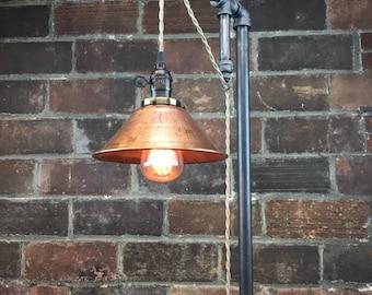 Industrial Floor Lamp   Copper Shade   Edison Bulb   Industrial Furniture    Steampunk   Barn Light