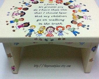personalized,customized step stool,little children,children,bible verse step stool,kids bench baby's stepstool,childrens bench,nursery stool