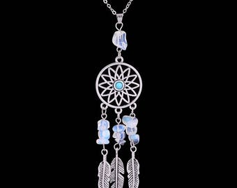 Necklace dream catcher silver and Moonstone chips and