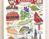 Illinois Print, State Symbols, Home Decor, Illustration, the Prairie State.
