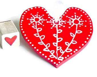 Valentines Day Ornament Red Heart Christmas Decoration White flower Ceramic Ornament Eco Friendly Pottery Wedding Decor Red Mothers Day Gift