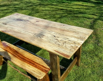 SALE!!!Rustic farmhouse spalted sycamore dining table and bench