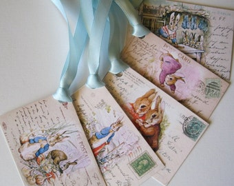 Peter Rabbit Digital Image - Beatrix Potter - Instant Download 5 Peter Rabbit GIft Tags - DIY - pdf