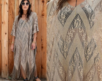 LIMITED Gypsy Eyes Lady of the CANYON Fringe CAFTAN Boho Maxi