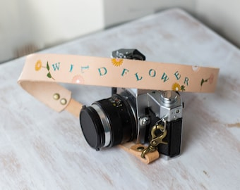 Personalized Leather Camera Strap, Hand Painted Wildflower, Photographer Gift