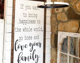 Farmhouse Sign | Mother Theresa| Love Your Family | Hand Painted | Rustic Sign