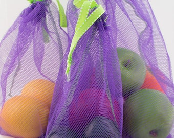 Reusable Produce Bags Starter Set of 6 -  Zero Waste - 4 Mesh Colors available - (1 small, 3 medium, 2 Large) - ECO Friendly Package